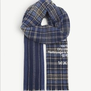 ACNE STUDIOS cassiar check stripe wool scarf logo